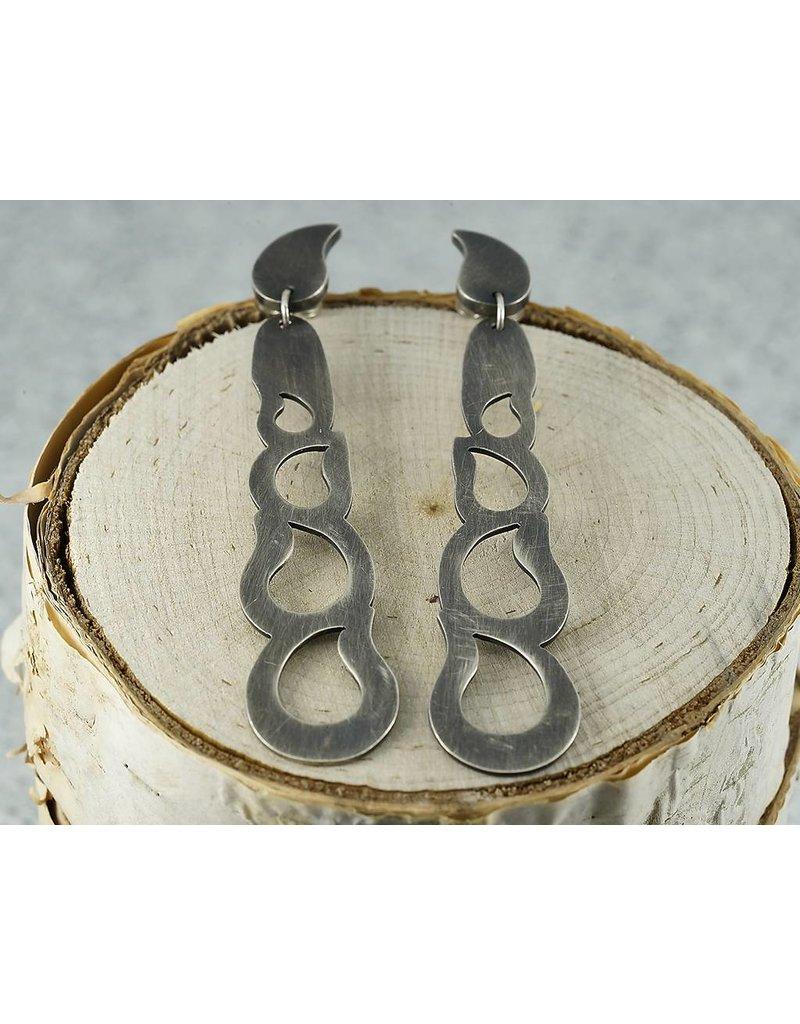Elle Naz Sterling Silver Long Earring studs with 4 Teardrop cut outs- A035