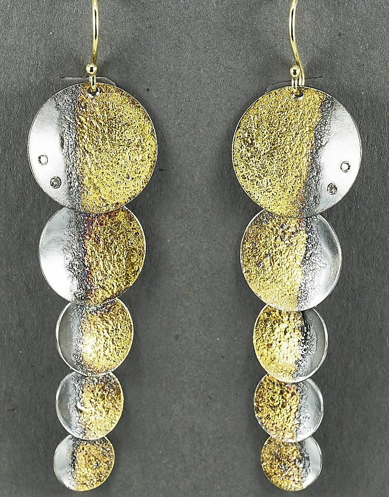 Jenny Reeves Au Shadow Shimmer Earrings, Diamonds, Keum-Boo, 18k Wire