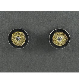 Jenny Reeves 12.mm Erosion Posts, 2.4mm White Diamonds Keum-boo
