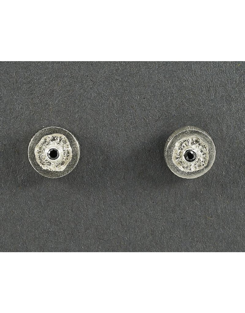 Jenny Reeves 9mm Sterling Silver Erosion Studs, 2mm Black Diamonds