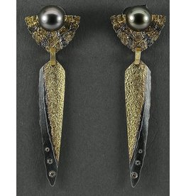 Jenny Reeves Statactite Earrings with Tahitian Pearls
