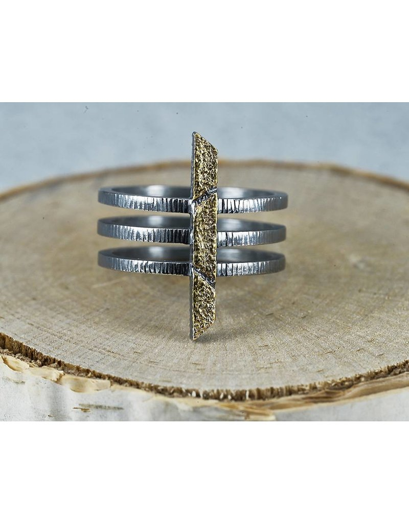 Jenny Reeves Bar Ring with 3 Bands, Oxidised Sterling Silver, 23k gold-Size 8
