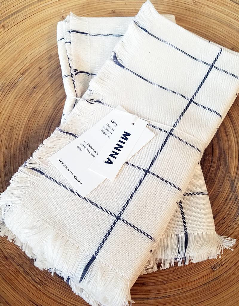 MINNA Cream Grid Napkins-Set of 4