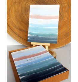 Ferme A Papier Foil Ocean Stripes Thank you Cards Box