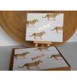 Ferme A Papier Foil 4 Leopard Print Merci Box-Cards