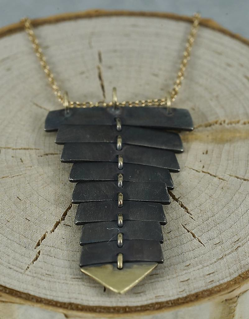 Sarah Swell Jewelry Fishbone Necklace Black&14k Gold