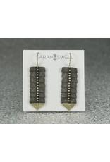 Sarah Swell Jewelry Fishbone Slim 7Bone Black and 14k Gold Earrings