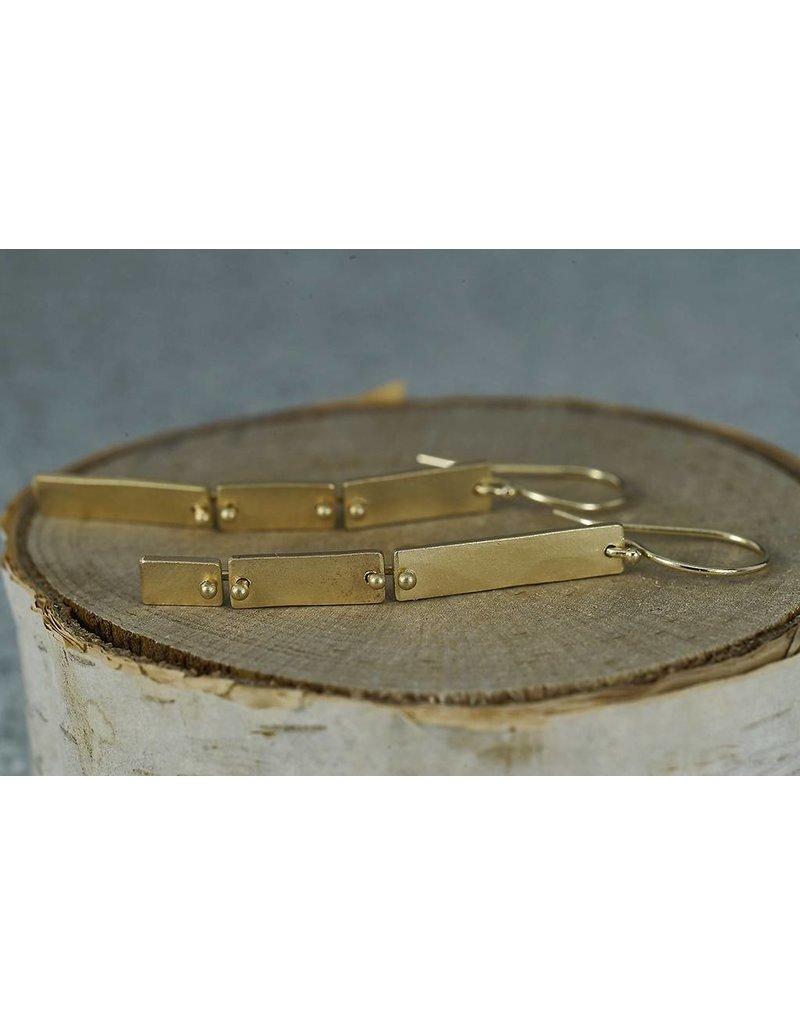 Sarah Swell Jewelry Column Slim Short Earrings 14K GOLD