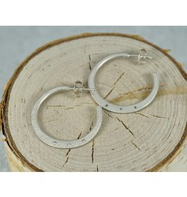 Sarah Swell Jewelry Weathered Diamond Hoops Sterling Silver
