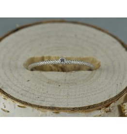 Sarah Swell Jewelry Feather Stacker .02CT Diamond Ring Sterling Silver-size 6.25