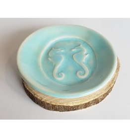 The Clay Cache Trinket Dish-Light Blue  Sea Horse