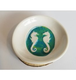 The Clay Cache Trinket Dish-White/Blue Green Sea Horse