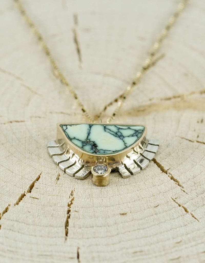 """Young In The Mountains Half Sol Necklace Turquoise .03 ct white diamond 18"""" 14k gold chain"""