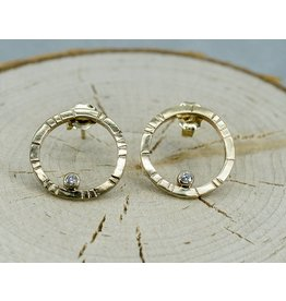 Young In The Mountains 14k Gold Pia Stud Hoop Earrings .03ct Diamonds