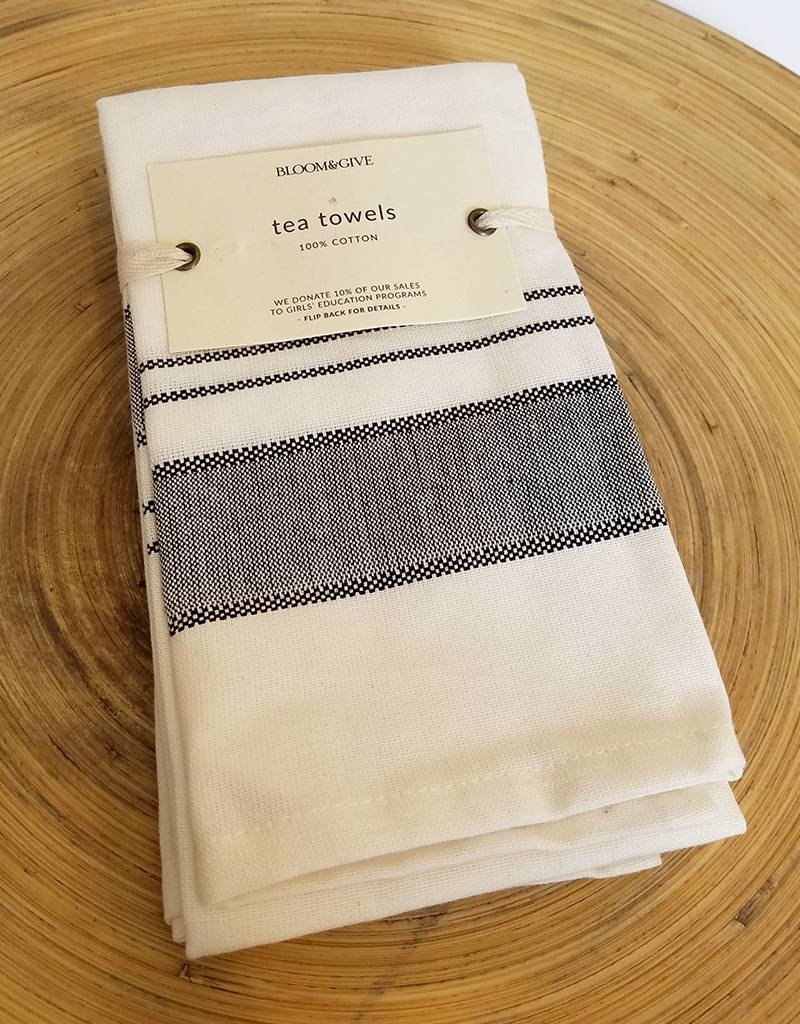 Bloom & Give Malabar Handloomed Kitchen Towels-set of 2 Black