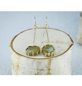 Nichole Shepherd Jewelry 14k Gold, Rough Beryl Lace Crystal Earrings