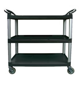 "Update Black Utility Cart 3 Shelves, 40""L x 20""W x 38""H"