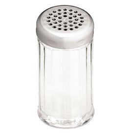 Tablecraft Shaker, 12 oz., Fluted Poly-carbonate, Perforated Chrome Top
