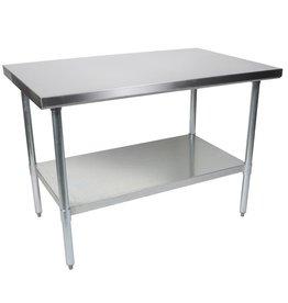 "John Boos & Co Work Table, 60""W x 24""D,  stainless steel flat top, adjustable galvanized undershelf & legs, NSF,"
