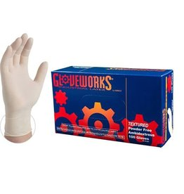 Ammex Corp. Ammex Glovework TLF Ivory Latex Industrial Powder-Free Disposable Gloves Large