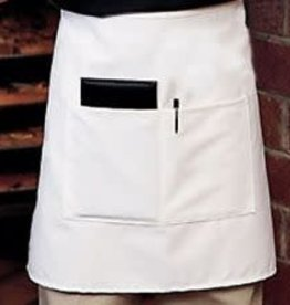 "Chef Revival Bistro Half Waist Apron 28"" x 19"" (2) pocket White"
