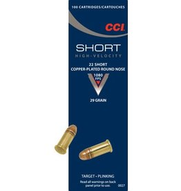 CCI CCI 22 Short 29gr Copper RN 100rd box (0027)