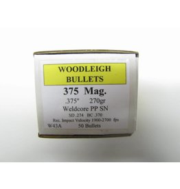 Woodleigh Woodleigh .375dia 375Mag 270gr Weldcore PP SN 50 CT Bullet (W43A)