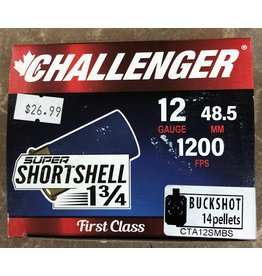 "Challenger Challenger Super Short Shell 12ga, 1.3/4"" 14 Pellet Buckshot, 1200 FPS 4 Buck 20rd box (60140)"
