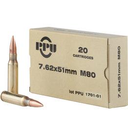 PPU PPU Rifle Ammo 7.62x51 FMJBT 145gr 20 rnds (PPN762)