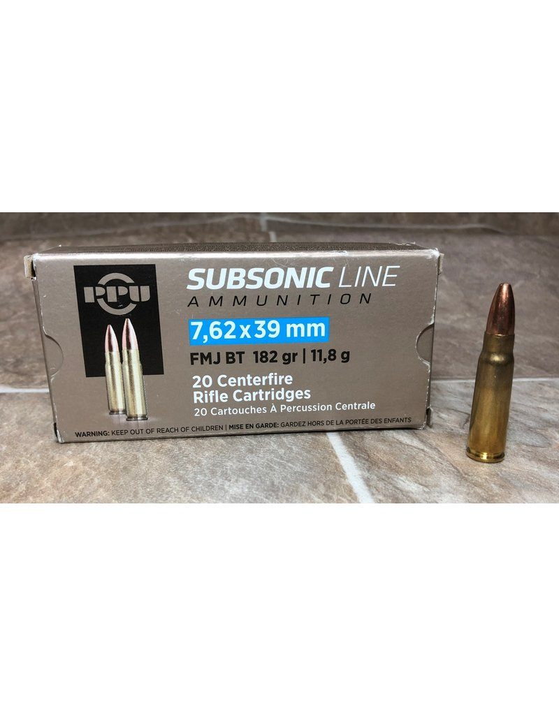 PPU PPU 7.62X39 182gr  Subsonic FMJ rifle ammo (PPS76239)
