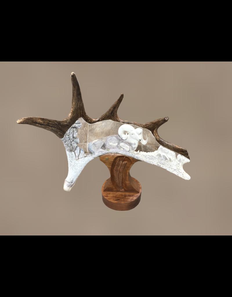 Moose Antler Carvings - Large Bighorn + Eagle Head