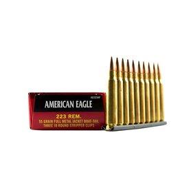 American Eagle Federal 223 Rem 55 Gr FMJ 30 RD Box Stripper Clip (AE223AF)