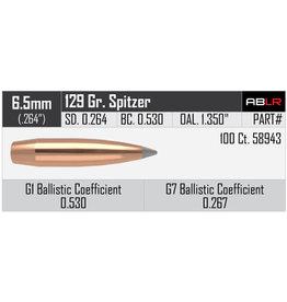 Nosler Nosler .264dia 6.5mm 129gr Spitzer Accubond LR 100ct Bullet (58943)