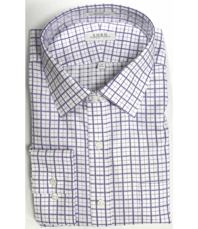 Enro Enro Crestwood Check Purple Spread Collar Big & Tall Shirt