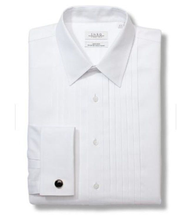 Enro Big&Tall-Pleated Tuxedo Point Collar Non-Iron Formal Shirt With French Cuff