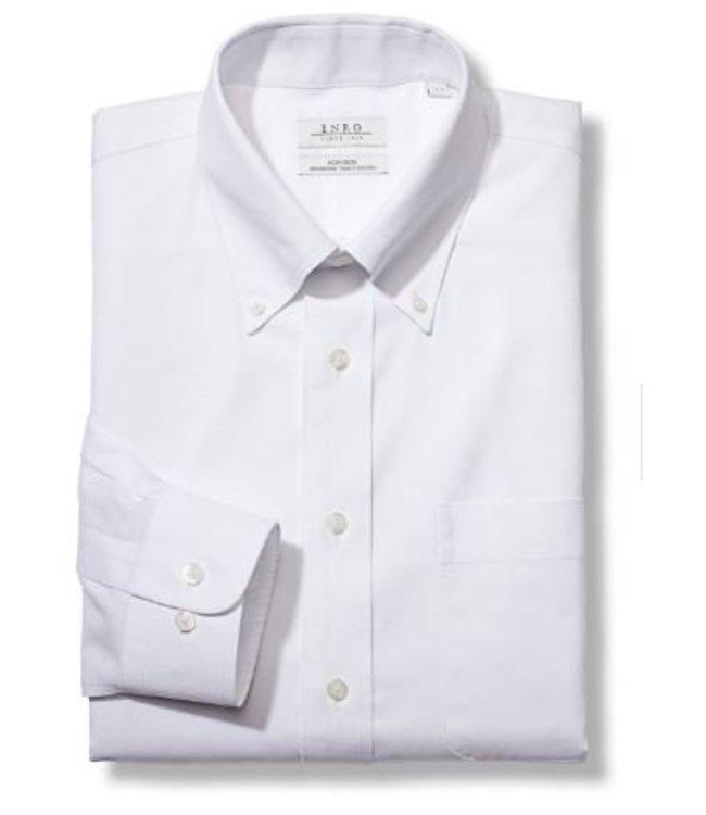 Enro Big&Tall-Newton Pinpoint Oxford Button Down Collar Non-Iron Dress Shirt In White