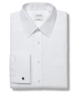 Enro Big&Tall-Newton Pinpoint Oxford Solid Point Collar Non-Iron Dress Shirt With French Cuff