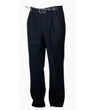 Self Sizer Pleated Front Polyester Wool Blend Tropical Dress Pants in Charcoal