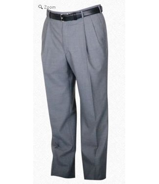 Self Sizer Pleated Front Polyester Wool Blend Tropical Dress Pants in Light Grey