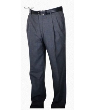 Self Sizer Pleated Front Polyester Wool Blend Tropical Dress Pants in Mid Grey