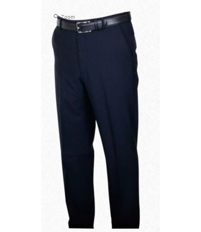 Self Sizer Flat Front Polyester Wool Blend Tropical Dress Pants in Navy