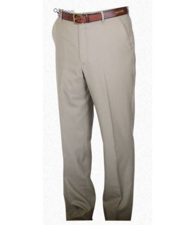 Self Sizer Flat Front Polyester Wool Blend Tropical Dress Pants in Tan