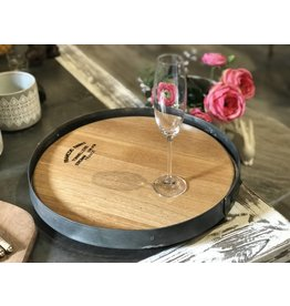 "16"" Wine Barrel Lazy Susan w/ Outside Barrel Band"