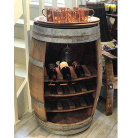 15 Bottle Wine Barrel w/ Lazy Susan Top