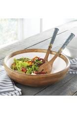 Salad Bowl & Server Set-Mangowood/Enamel