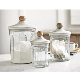 Glass & Wood Canister Set/3