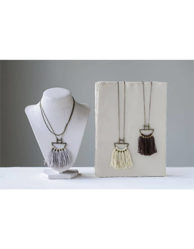 Metal Boho Cotton Fringe Necklace