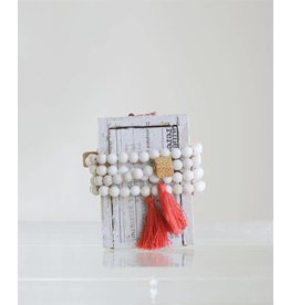 Shell Cotton & Stone Bracelet-Red