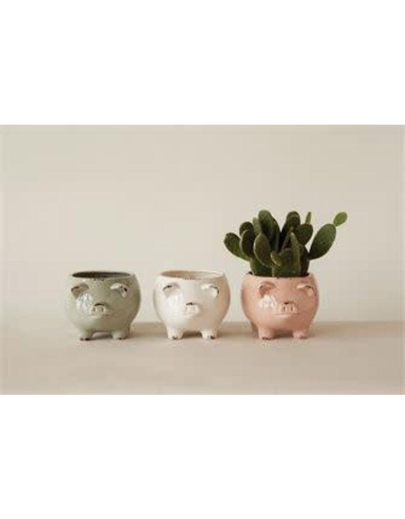 "9"" Stoneware Pig-3 colors"