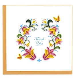 Quilling Card - Thank You Flower Wreath